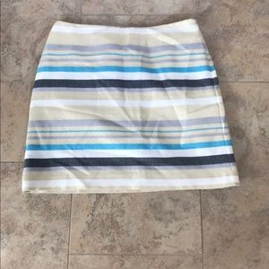 EUC Loft Lined Striped Mini Skirt